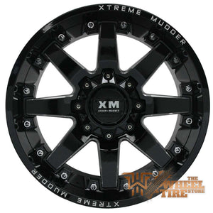 XTREME MUDDER XM-334 Wheel in Gloss Black Milled w/ Rivets (Set of 4)
