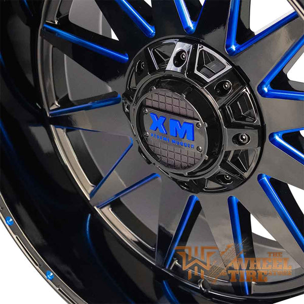XTREME MUDDER XM-312 Wheel in Gloss Black with Blue Milling (Set of 4)