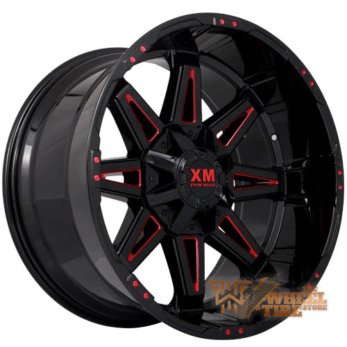 XTREME MUDDER XM-325 Gloss Black Red Milled (Set of 4)