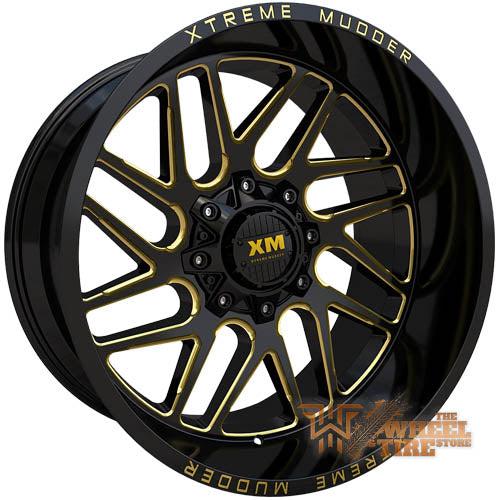 XTREME MUDDER XM-339 Wheel in Gloss Black Yellow Milled (Set of 4)