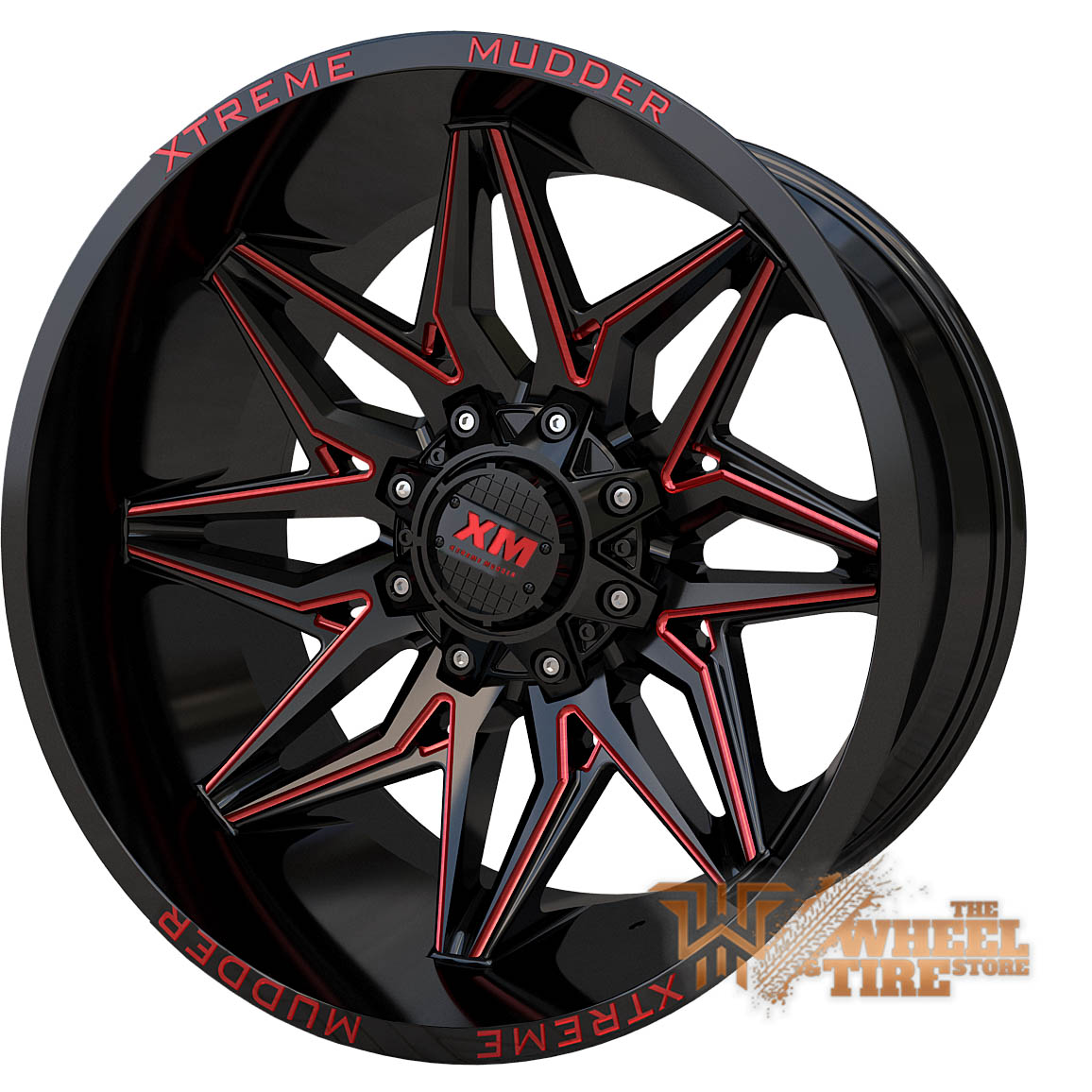 XTREME MUDDER XM-342 Wheel in Gloss Black Red Milled (Set of 4)