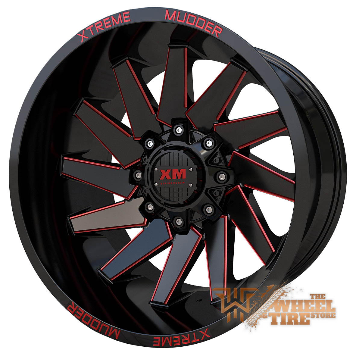 XTREME MUDDER XM-344 Wheel in Gloss Black Red Milled (Set of 4)