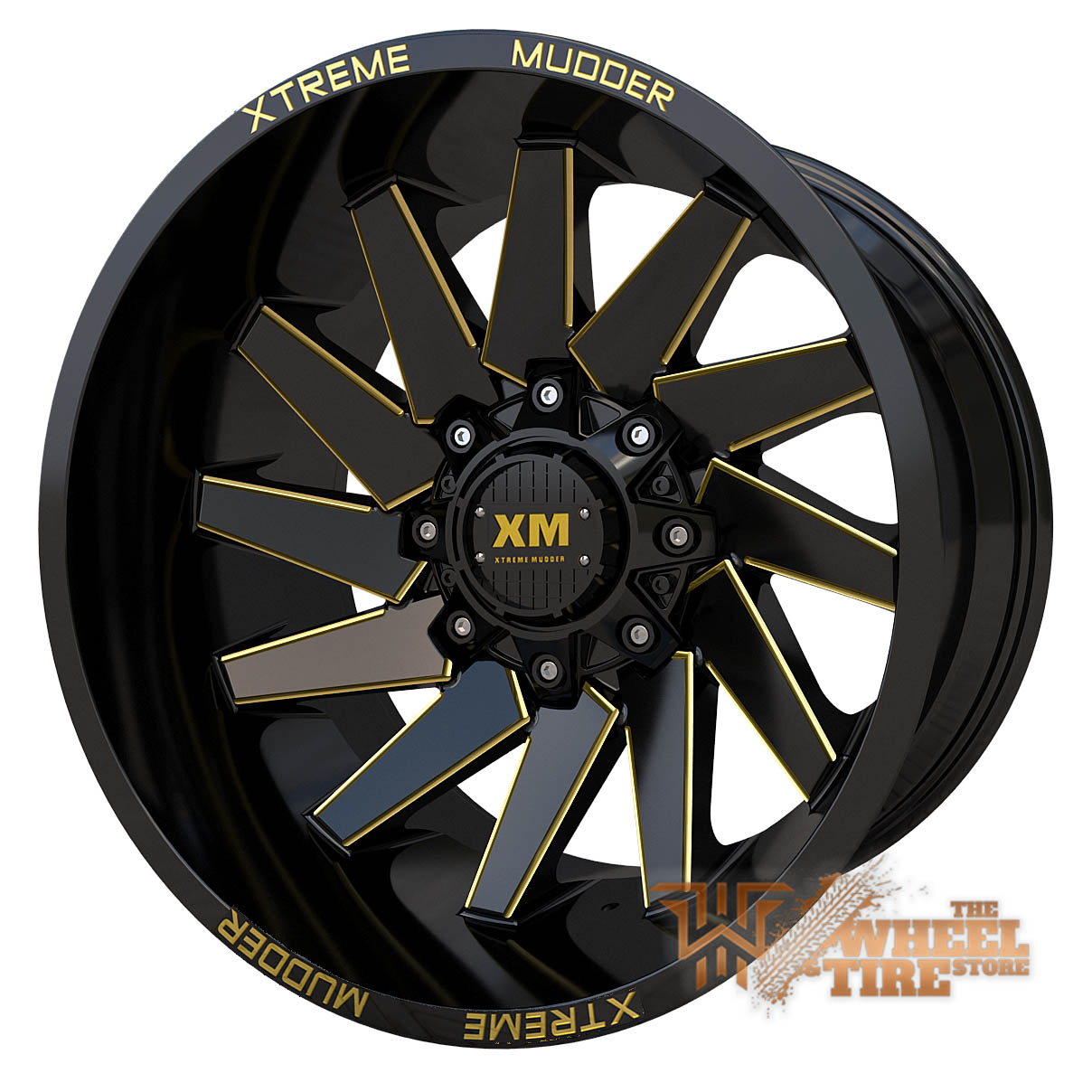 XTREME MUDDER XM-344 Wheel in Gloss Black Yellow Milled (Set of 4)
