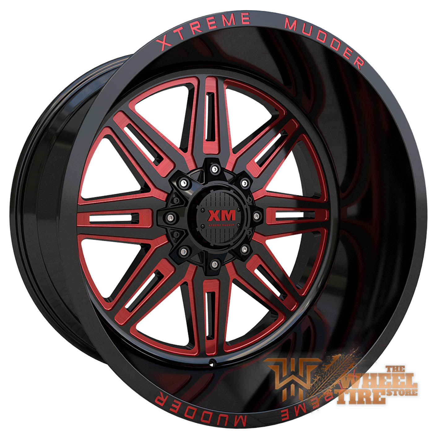 XTREME MUDDER XM-341 Wheel in Gloss Black Red Milled (Set of 4)