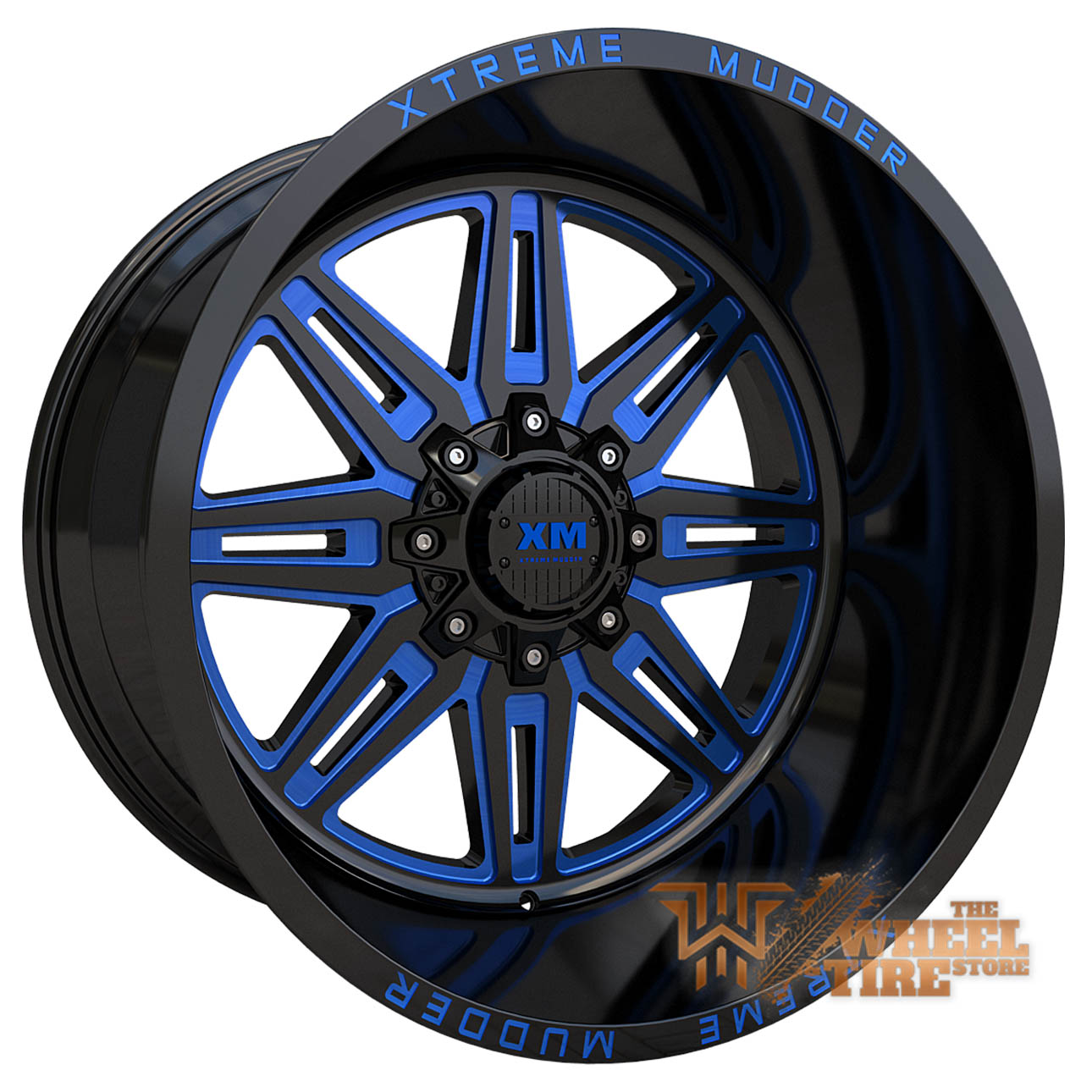 XTREME MUDDER XM-341 Wheel in Gloss Black Blue Milled