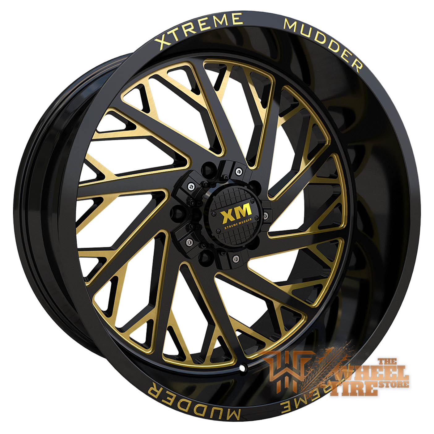 XTREME MUDDER XM-400 Wheel in Gloss Black Yellow Milled (Set of 4)