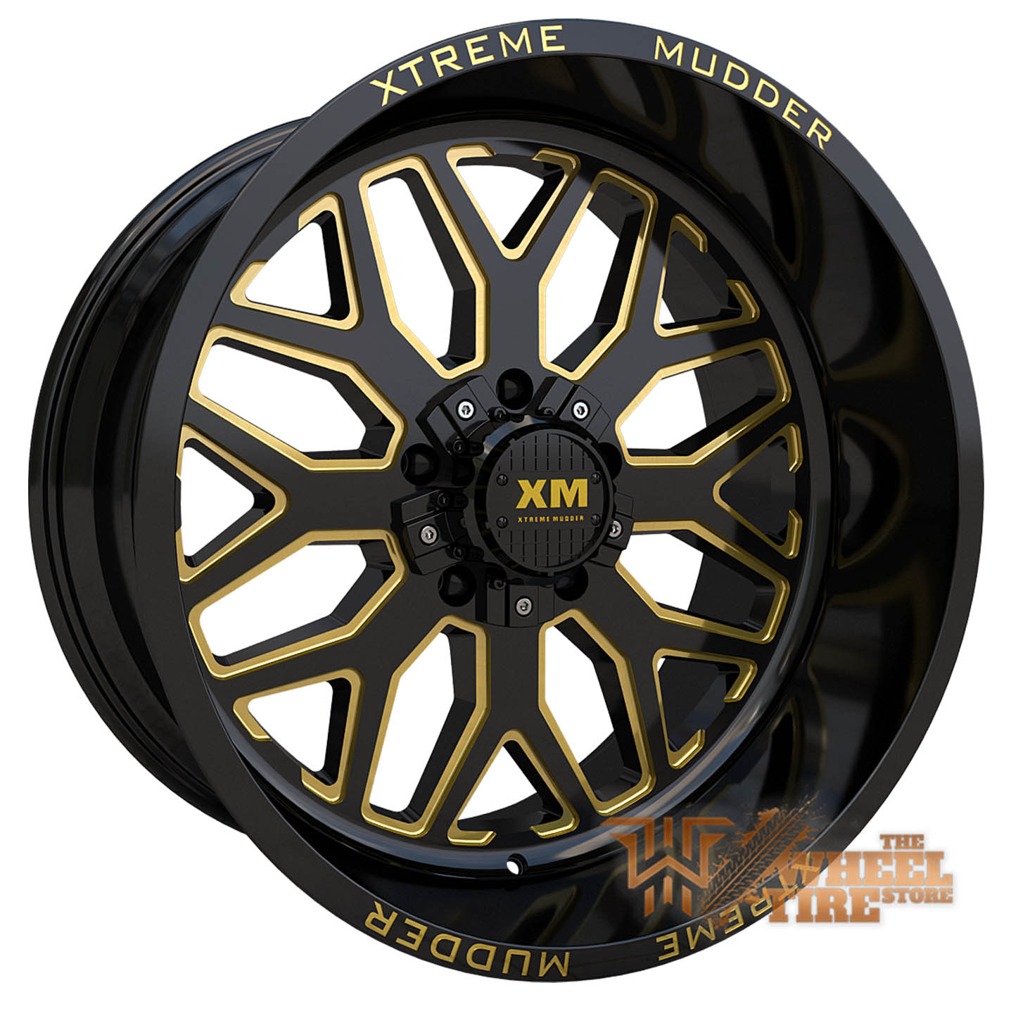 XTREME MUDDER XM-401 Wheel in Gloss Black Yellow Milled (Set of 4)