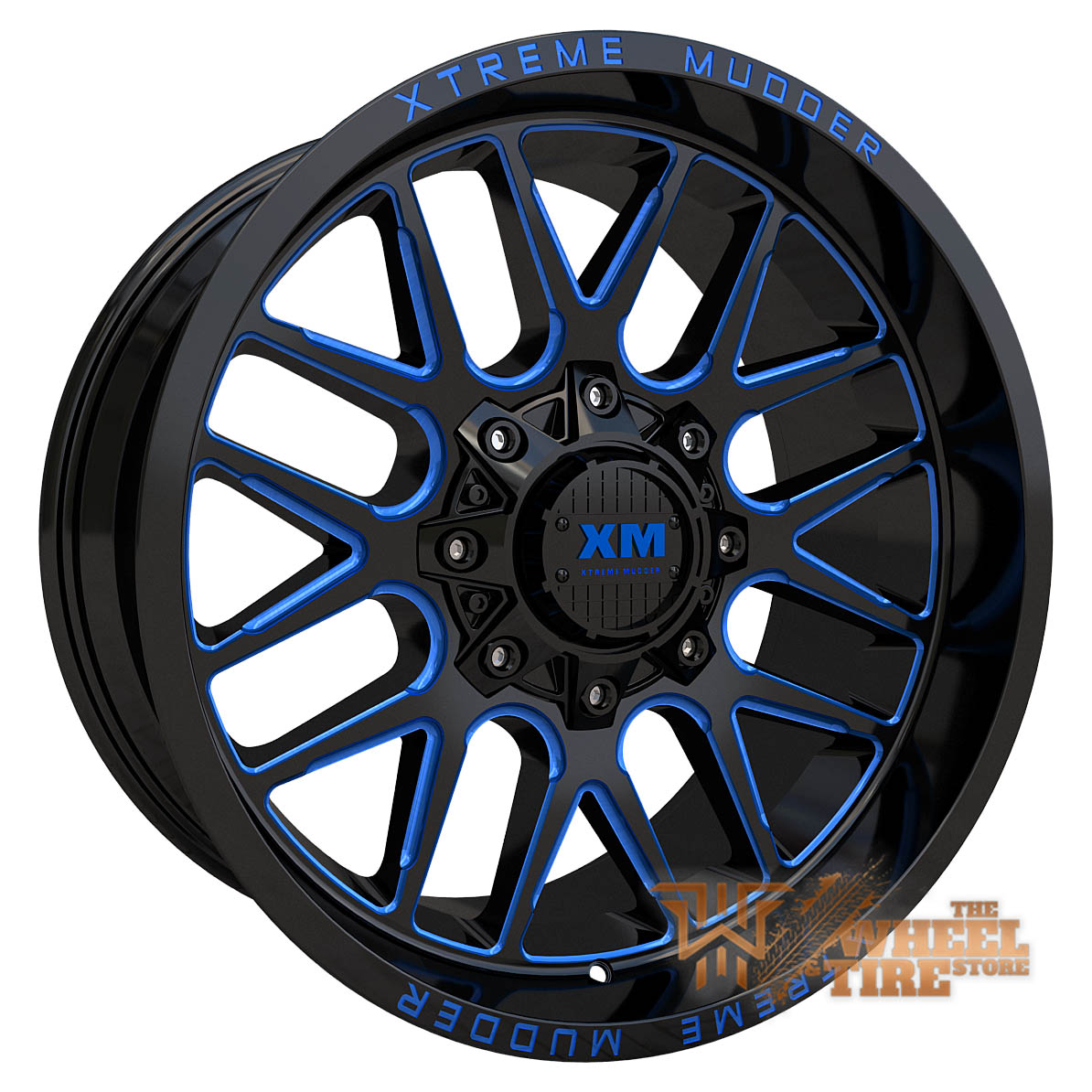 XTREME MUDDER XM-338 Wheel in Gloss Black Blue Milled (Set of 4)