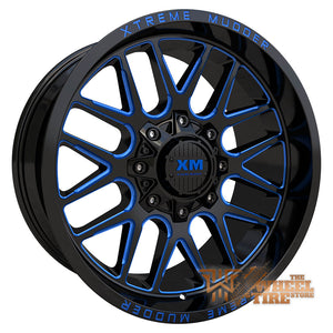 XTREME MUDDER XM-338 Wheel in Gloss Black Blue Milled