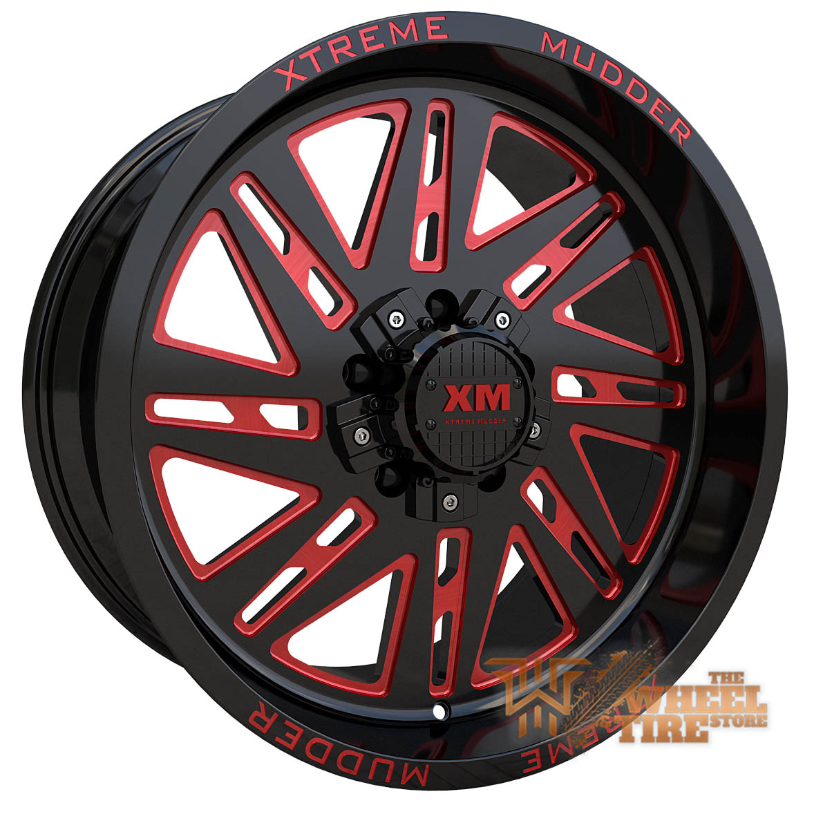 XTREME MUDDER XM-347 Wheel in Gloss Black Red Milled (Set of 4)