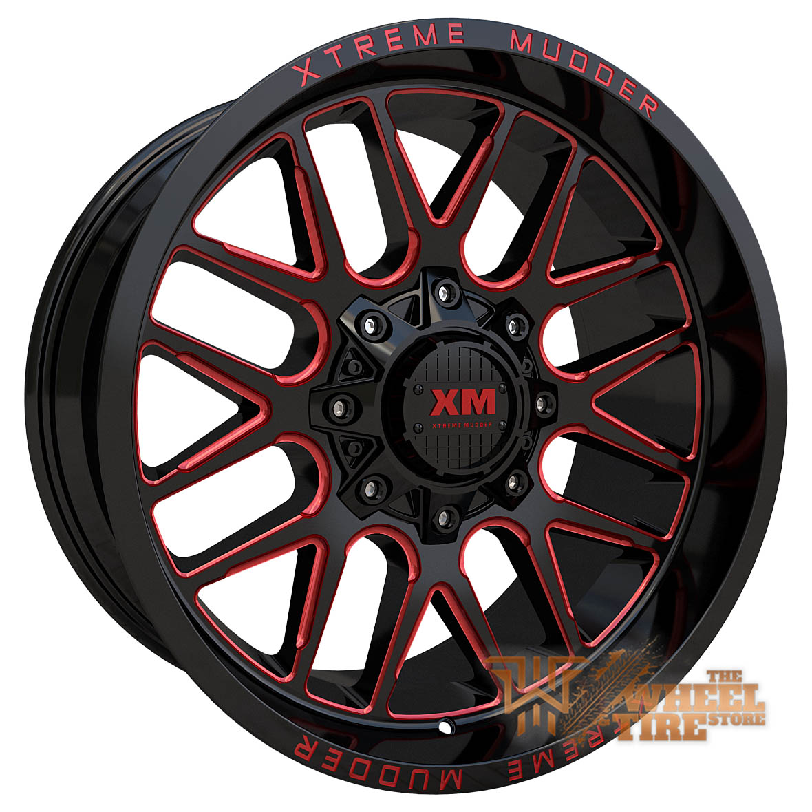 XTREME MUDDER XM-338 Wheel in Gloss Black Red Milled (Set of 4)