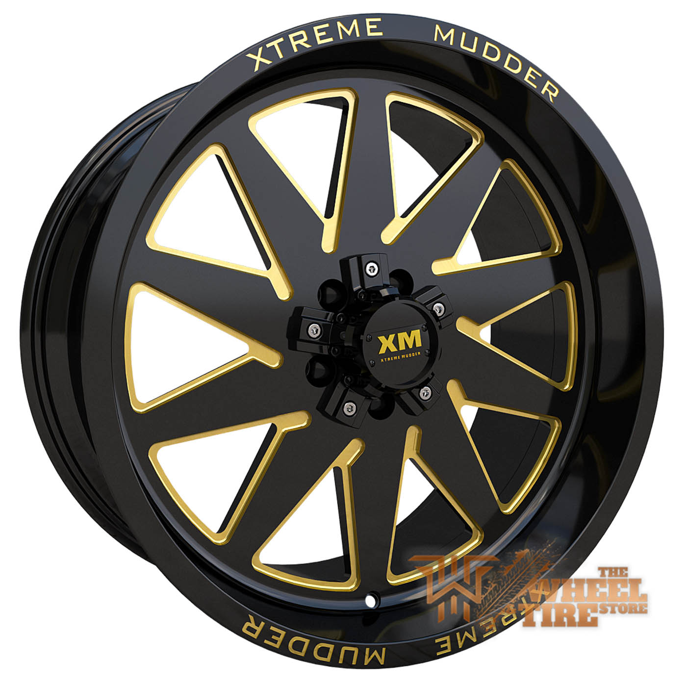XTREME MUDDER XM-348 Wheel in Gloss Black Yellow Milled (Set of 4)