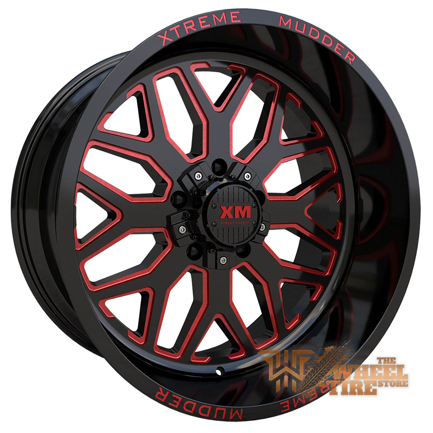 XTREME MUDDER XM-401 Wheel in Gloss Black Red Milled (Set of 4)