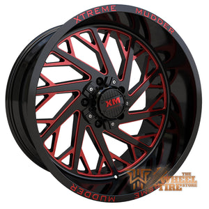 XTREME MUDDER XM-400 Wheel in Gloss Black Red Milled