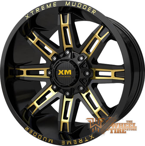 XTREME MUDDER XM-335 Wheel in Gloss Black Yellow Milled (Set of 4)