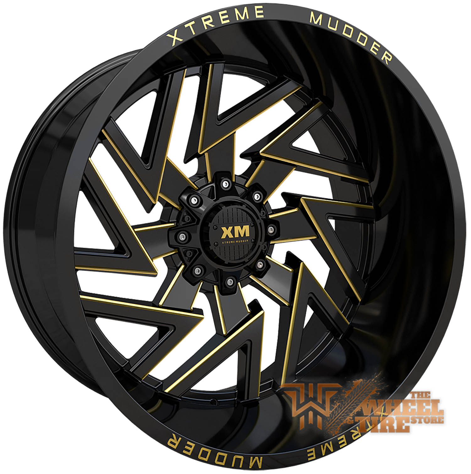 XTREME MUDDER XM-340 Wheel in Gloss Black Yellow Milled