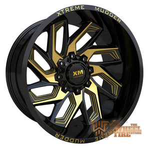 XTREME MUDDER XM-343 Wheel in Gloss Black Yellow Milled (Set of 4)