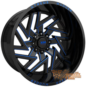 XTREME MUDDER XM-340 Wheel in Gloss Black Blue Milled