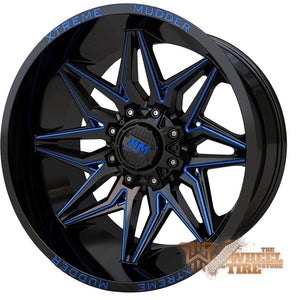 XTREME MUDDER XM-342 Wheel in Gloss Black Blue Milled (Set of 4)