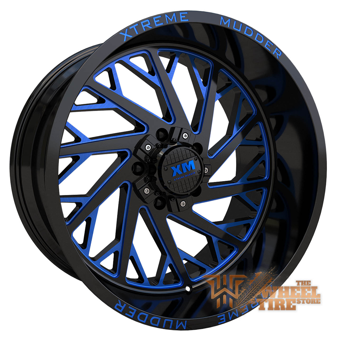 XTREME MUDDER XM-400 Wheel in Gloss Black Blue Milled