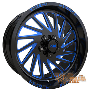 XTREME MUDDER XM-346 Wheel in Gloss Black Blue Milled (Set of 4)