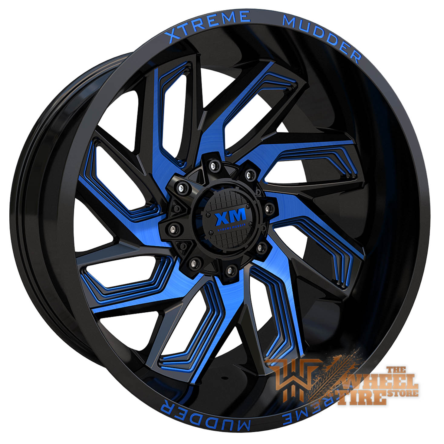 XTREME MUDDER XM-343 Wheel in Gloss Black Blue Milled (Set of 4)