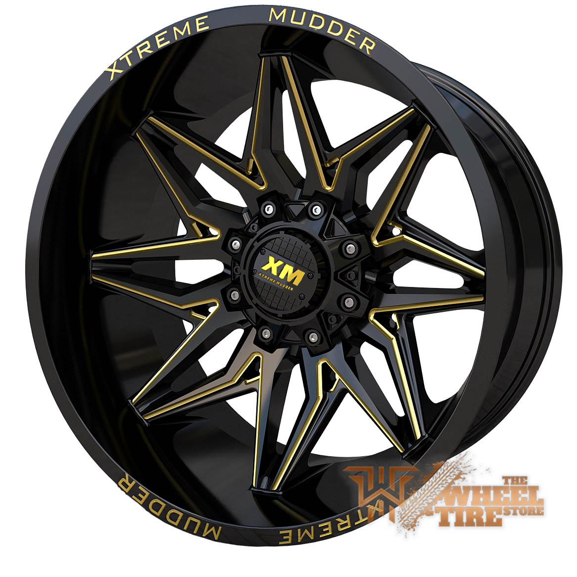 XTREME MUDDER XM-342 Wheel in Gloss Black Yellow Milled (Set of 4)