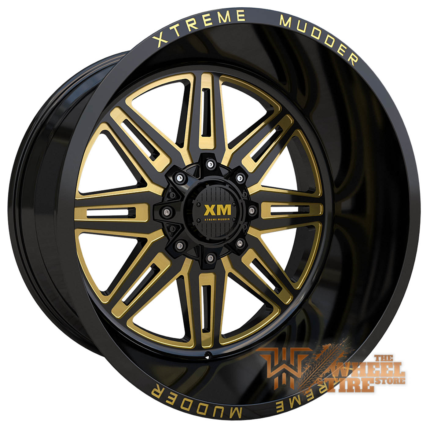 XTREME MUDDER XM-341 Wheel in Gloss Black Yellow Milled (Set of 4)