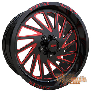 XTREME MUDDER XM-346 Wheel in Gloss Black Red Milled