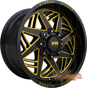 XTREME MUDDER XM-345 Wheel in Gloss Black Gold Milled (Set of 4)
