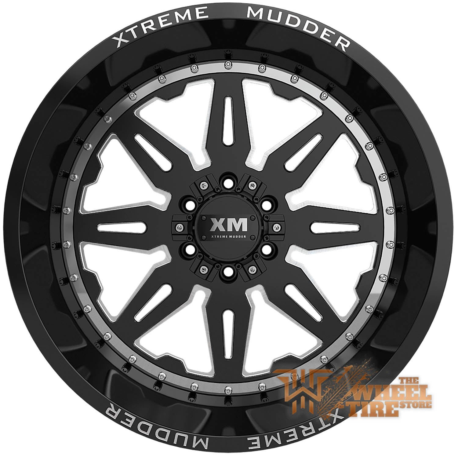 XTREME MUDDER XM-350 Wheel in Gloss Black Milled w/ Machined Ring