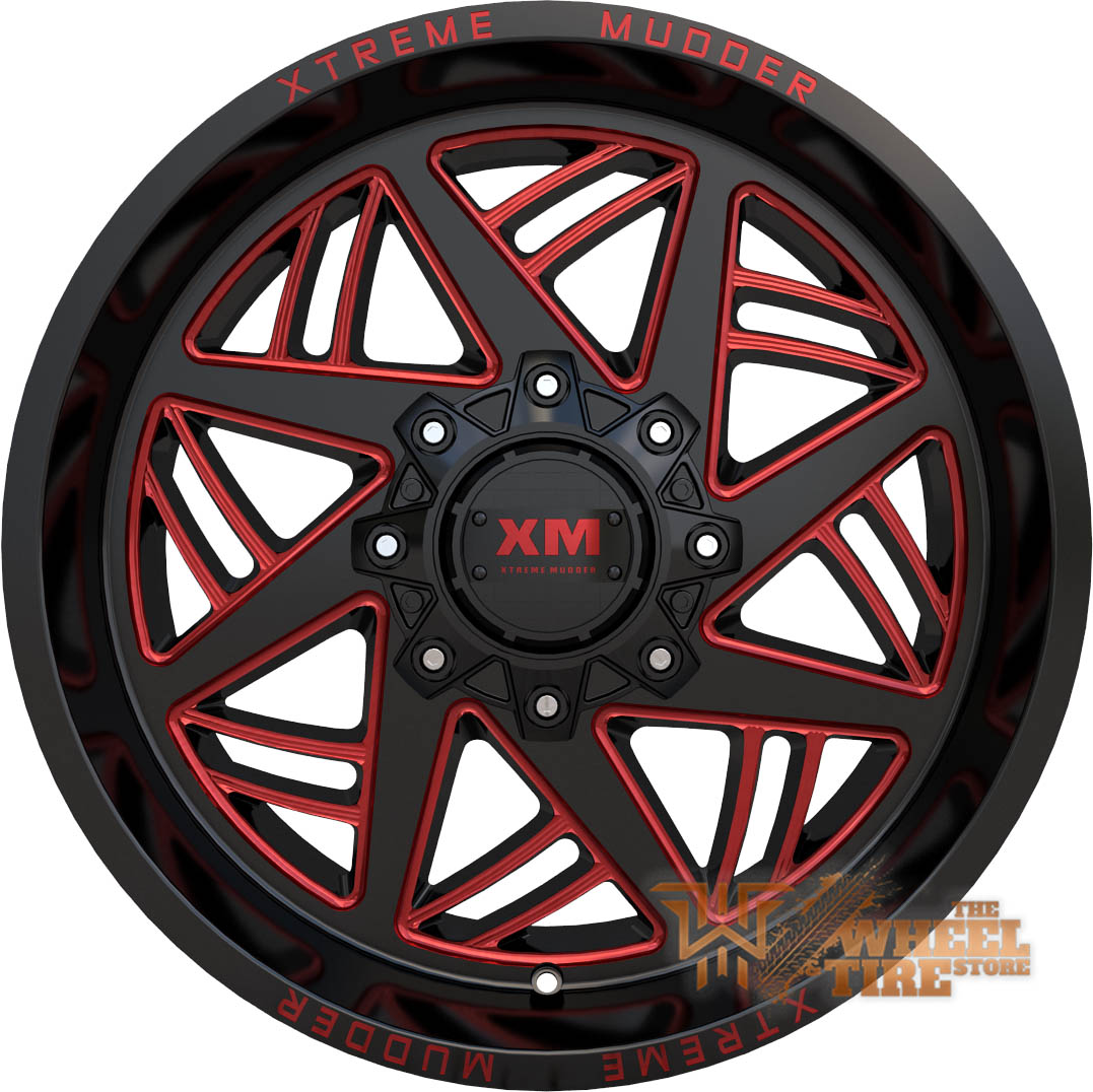 XTREME MUDDER XM-345 Wheel in Gloss Black Red Milled (Set of 4)