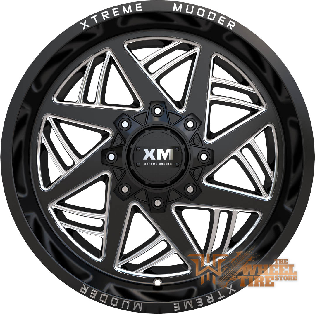 XTREME MUDDER XM-345 Wheel in Gloss Black Milled (Set of 4)