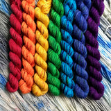 Speckled Rainbow *7 Mini-Skein Set* -- Broadway sparkle sock yarn -- ready to ship