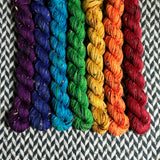 Speckled Rainbow *7 Mini-Skein Set* -- Alphabet City tweed sock yarn -- ready to ship