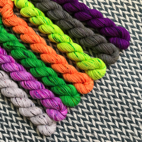 Classic Halloween Tale *7 Mini-Skein Set* -- Times Square sock yarn -- ready to ship