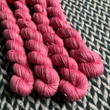 Pink Ions -- mini-skein -- Broadway sparkle sock yarn -- ready to ship