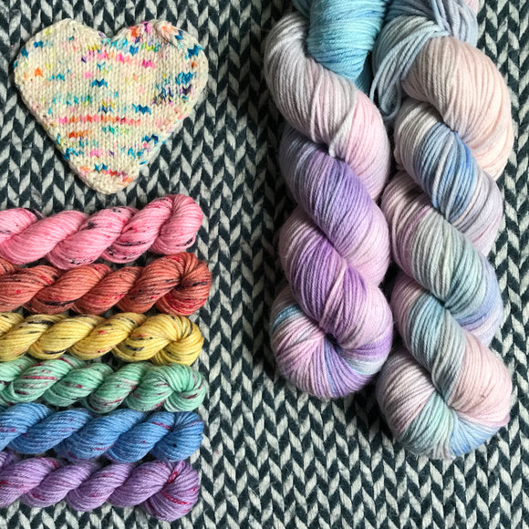WHAT'S THE SCOOP? plus Souvenir T-Shirt Collection -- *Celebrate with Love Set* DK weight yarn -- ready to ship