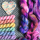 CAKE MY DAY plus Souvenir T-shirt Collection -- *Celebrate with Love Set* Broadway sparkle sock yarn -- ready to ship