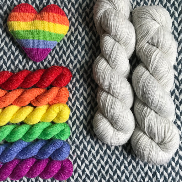 MAN ON THE MOON plus Sun Dog Set -- *Celebrate with Love Set* Broadway sparkle sock yarn -- ready to ship