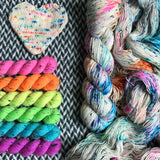 THE COLOR PARROT plus Highlighter Pack -- *Celebrate with Love Set* Alphabet City tweed sock yarn -- ready to ship