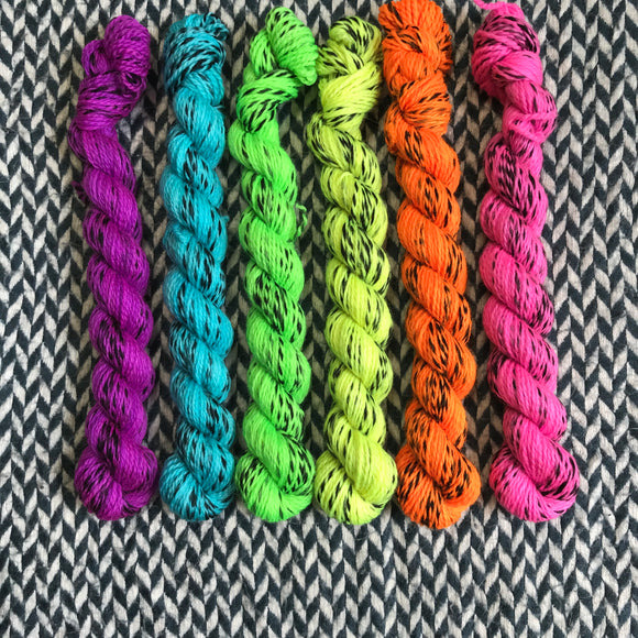 Highlighter Pack *6 Mini-Skein Set* -- Wave Hill zebra fingering yarn -- ready to ship