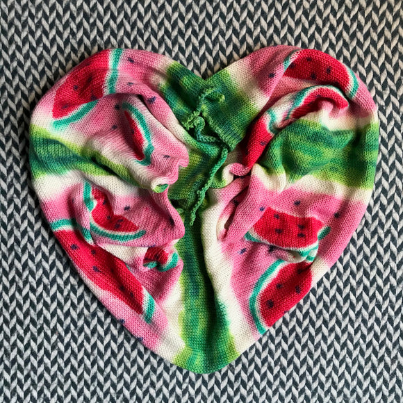 WATERMELON SLICES -- single-stranded hand-painted sock blank -- ready to ship