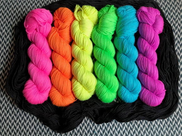 HIGHLIGHTER PACK *6 Skein Set* -- dyed to order yarn
