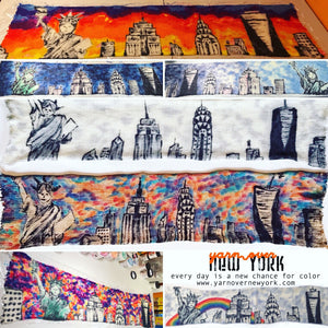 NYC SKYLINE -- hand-painted sock blank -- dyed to order yarn