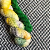 SWORDTAIL SEAHORSE with Green * Broadway Sparkle Sock Set * -- full-size skein with mini-skein -- ready to ship yarn