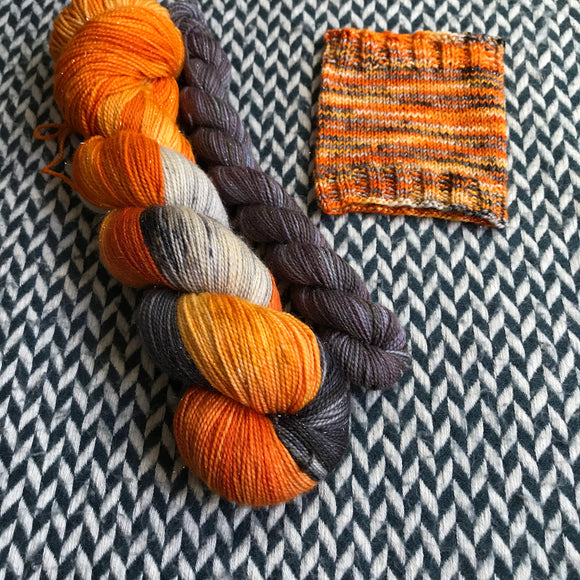 MONARCH CLOWNFISH with Grey * Broadway Sparkle Sock Set * -- full-size skein with mini-skein -- ready to ship yarn
