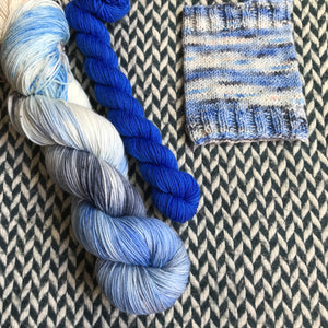 ADONIS NAUTILUS with Blue * Broadway Sparkle Sock Set * -- full-size skein with mini-skein -- ready to ship yarn