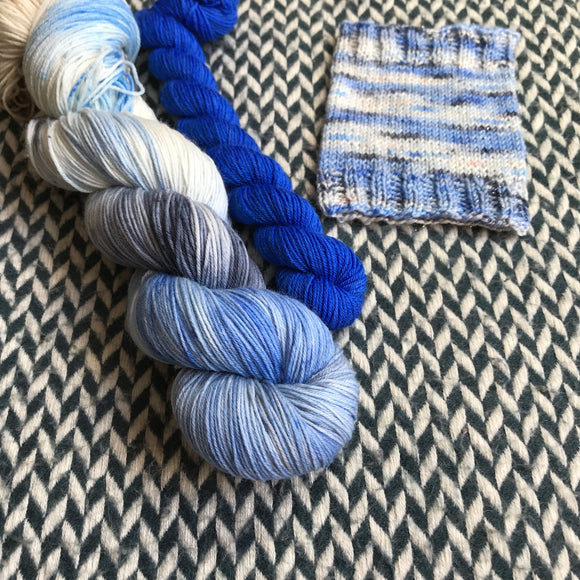ADONIS NAUTILUS with Blue * Times Square Sock Set * -- full-size skein with mini-skein -- ready to ship yarn