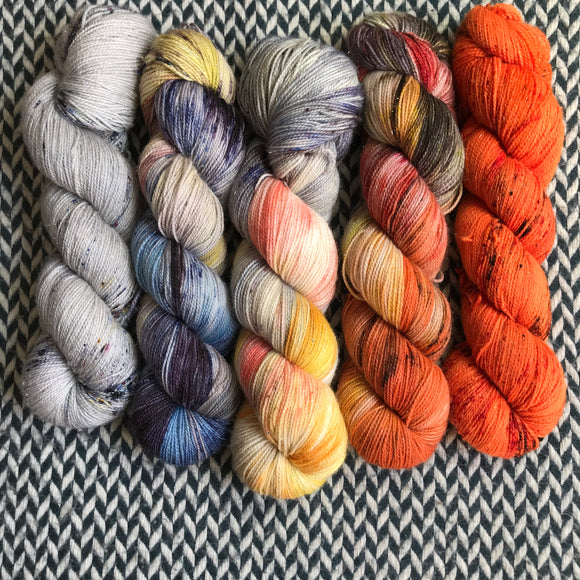 AUTUMN IN NEW YORK *5 Skein Set* -- dyed to order yarn